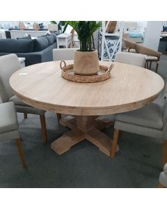 """""""St Tropez"""" Hamptons Style Recycled Elm Round Pedestal Base Dining Table, 150cm"""