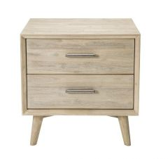 """Belrose"" Solid Timber Coastal Style 2 Drawer Bedside Table"