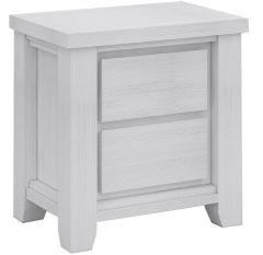 """Jefferson"" Solid Timber Brushed White Coastal Hamptons Style Bedside Table with 2 Drawers, 58x40xH60cm"
