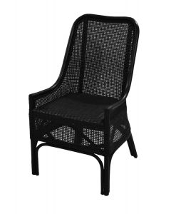 """Albany"" Hamptons Style Rattan Cane Armchair Dining Chair in Black"