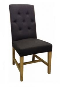 """Tiffany"" French Provincial Linen Buttoned Dining Chair Black, 48cm x 50cm x 100cmH"