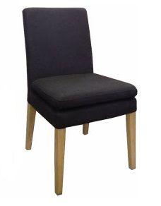 """Oscar"" Linen Fabric Upholstered Padded Dining Chair Black, 48cm x 50cm x 89cmH"