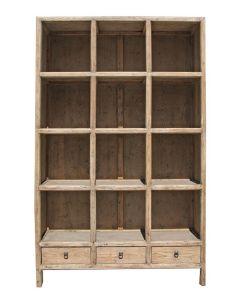 """Barcelona"" Hamptons Style Solid Elm Cube Display Cabinet, 120cm x 38cm x 190cmH"