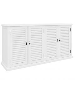 """Whitehaven"" Hamptons Style Timber Buffet 4 Door White, 180cmL x 45cmD x 90cmH"