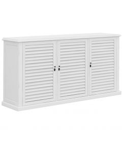"""Whitehaven"" Hamptons Style Timber Buffet 3 Door White, 167cmL x 40cmD x 80cmH"
