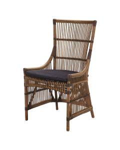 """Byron"" Hamptons Style Rattan Cane Dining Side Chair Antique Natural, 54cm x 45cm x 95cmH"
