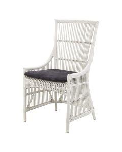 """Byron"" Hamptons Style Rattan Cane Dining Side Chair White with Black Cushion, 54cm x 45cm x 95cmH"