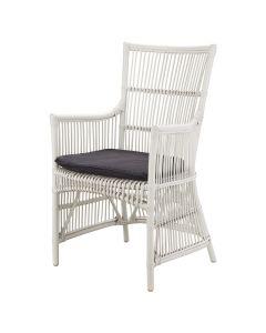 """Byron"" Hamptons Style Rattan Cane Armchair Dining Chair White with Black Cushion, 58cm x 45cm x 95cmH"