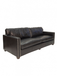 """Chelsea"" Contemporary Aged Leather Black 3 Seater Lounge"