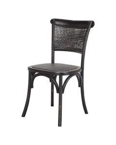 """Capri"" Plantation Style Cane Weave Rattan Dining Chair Black"