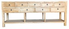 Shanghai Chinese Antique Reproduction Recycled Elm 9 Drawer Hall Table with Shelf