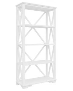 """""""Emily"""" Hamptons Style White Timber Bookcase, 100cmL x 45cmD x 200cmH"""