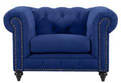 """Royale"" Navy Blue Velvet Chesterfield Tufted & Studded Occasional Armchair, W124xD95xH80cm"