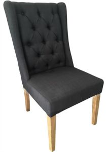 """Monaco"" French Provincial Buttoned Linen Dining Chair Black, 50cm x 50cm x 98cmH"