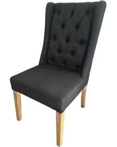 """Monaco"" French Provincial Buttoned Linen Dining Chair Black, 50cm x 50cm x 98cmH"