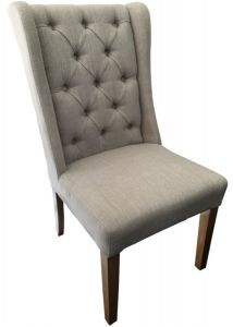 """Monaco"" French Provincial Buttoned Linen Dining Chair Beige, 50cm x 50cm x 98cmH"