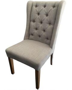 """Monaco"" French Provincial Buttoned Linen Dining Chair Beige, 50cm x 50cm x 98cmH"