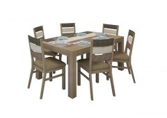 """Beachside"" 7 Pc Hardwood Timber 180cm Rustic Dining Table Chair Package"