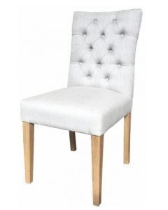 """Chloe"" Hamptons Style Dining Chair Fabric Cushioned Seat and Back with Button Detailing Beige, 49cm x 65cm x 97cmH"