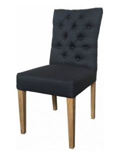 """Chloe"" Hamptons Style Dining Chair Fabric Cushioned Seat and Back with Button Detailing Black, 49cm x 65cm x 97cmH"