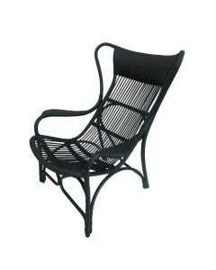 """Byron"" Hampton Style Rattan Cane Occasional Chair Black"