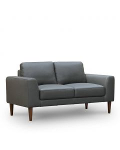 """Lauren"" Hamptons Style 2 Seater Leather Lounge in Charcoal"