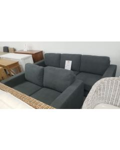 *CLEARANCE FLOOR STOCK* COOLUM FABRIC LOUNGE 3.5 SEATER + 2.5 SEATER CHARCOAL (RRP $1999)