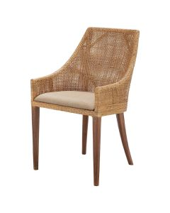 """""""Coral Bay"""" Hampton Style Rattan Dining Chair Natural with Timber Legs"""