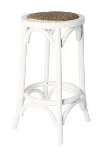 """Noosaville""  Hardwood Timber Kitchen Bar Stool Rattan Seat Vivid White, 35cmL x 35cmD x 65cmH"