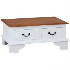 """""""Normandy"""" White & Caramel Solid Mahogany Timber 4 Drawer Coffee Table, 90x70xH40cm"""