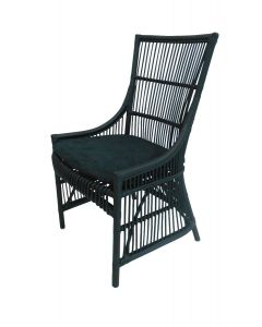 """Byron"" Hampton Style Rattan Cane Black Dining Side Chair with Black Cushion, 54cm x 45cm x 95cmH"