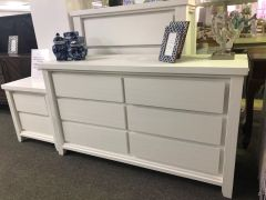 """Jefferson"" Solid Timber Brushed White Coastal Hamptons Style Dresser with 6 Drawers, 144x45xH82cm"