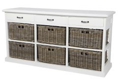 """Ruby"" Hamptons Style White Timber 3 Drawer Buffet with 6 Rattan Baskets"