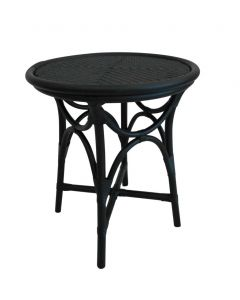 """Byron"" 50cm Round Rattan Side Table in Black Cane"