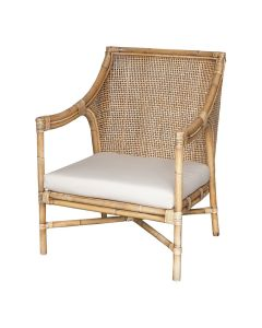 """Havana"" Hamptons & Plantation Style Rattan Occasional Chair with Cushion, 66cm L 70cm W 86cm H"