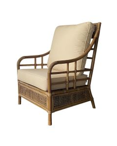 """Havana"" Hamptons & Plantation Style Rattan Armchair with Cushion, 70cm L 93cm W 95cm H"