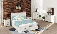 """Avalon"" Hamptons Style Brushed White Queen Size Bed with Storage Drawers, 5 Drawer Tallboy + 2 x Bedsides Package"