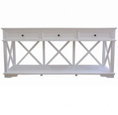 """Emily"" Hamptons Style Timber Console Table 3 Drawer White, 190cmL x 50cmD x 85cmH"