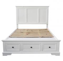 """Sophia"" Hampton Style Hardwood Timber King Bed White, 198cm x 215.5cm x 150cm"