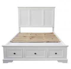 """Sophia"" Hampton Style Hardwood Timber Queen Bed White"