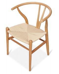"""Wishbone"" Hamptons Style Beechwood Chair in Natural, 55cm x 54cm x 75cmH"