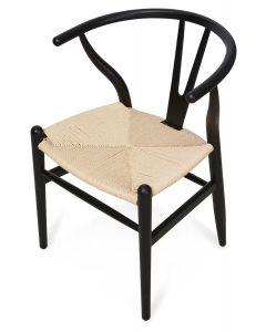 """Wishbone"" Hamptons Style Beechwood Chair in Black/Natural, 55cm x 54cm x 75cmH"