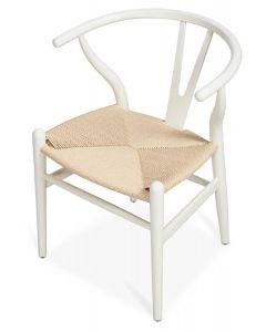 """Wishbone"" Hamptons Style Beechwood Chair in White/Natural, 55cm x 54cm x 75cmH"