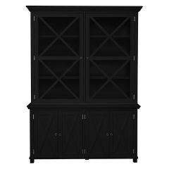 """Salisbury"" Hamptons Style Timber Tall Glass Door Display Cabinet Black W170xD50xH230cm"