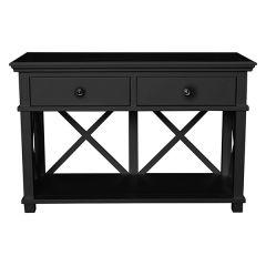 """Salisbury"" Hamptons Style Black Timber 2 Drawer Hall Console Table L130xD50xH85cm"