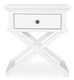 """Salisbury"" Hamptons Style White Timber 1 Drawer Lamp Side Table 60x50xH65cm"