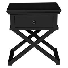"""Salisbury"" Hamptons Style Luxe Timber 1 Drawer Lamp Side Table Black 60x50xH65cm"