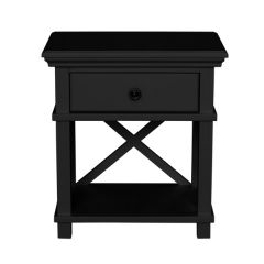 """Salisbury"" Hamptons Style Black Timber 1 Drawer Bedside Lamp Side Table 60x40xH65cm"