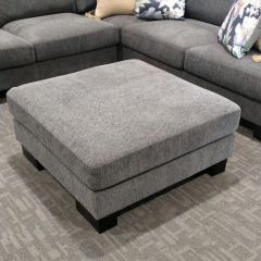 """""""Oasis"""" Fabric Feather wrapped Foam Ottoman in Charcoal, 93cmL x 93cmD"""