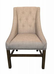 """Pierson"" Hampton French Provincial Linen Buttoned Dining Chair Taupe, 60cm x 60cm x 100cmH"